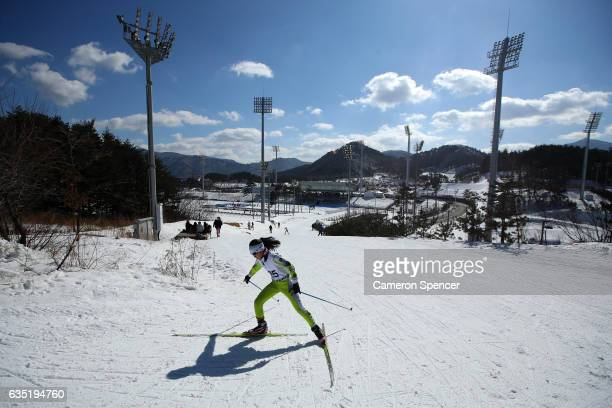 A competitor races during a youth nordic event at the Alpensia CrossCountry Centre on February 14 2017 in Pyeongchanggun South Korea