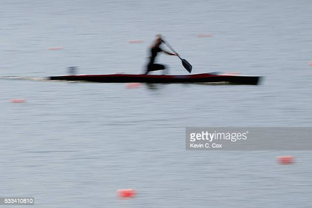 A competitor races in the Sr Women C1 500m Final during Day Four of the 2016 Canoe Kayak Pan American Championships at the Lake Lanier Olympic Venue...