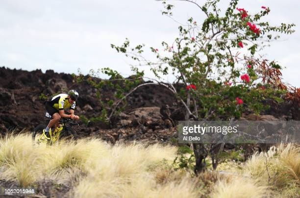 A competitor rides the course during the preparation for the Ironman World Championships on October 12 2018 in Kailua Kona Hawaii