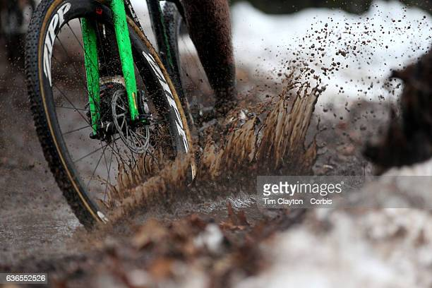 Competitor rides through mud and water during the Elm City CX, CT Series Cyclocross Competition on December 18th, 2016 at the Edgewood Park, New...