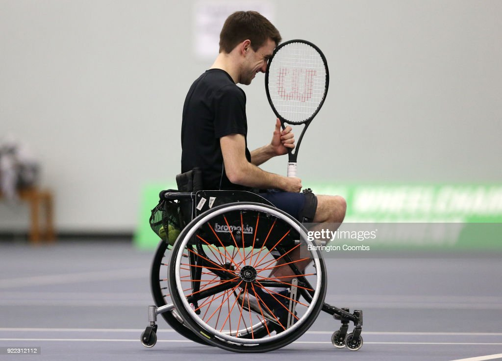A competitor shows the frustration of losing a point during the 2018 Bolton Indoor Wheelchair Tennis Tournament at Bolton Arena on February 21, 2018 in Bolton, England.