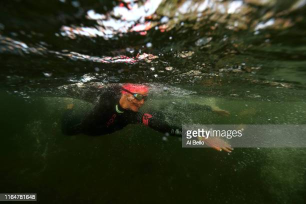 A competitor starts the age group portion during the Ironman triathlon on July 28 2019 in Lake Placid New York