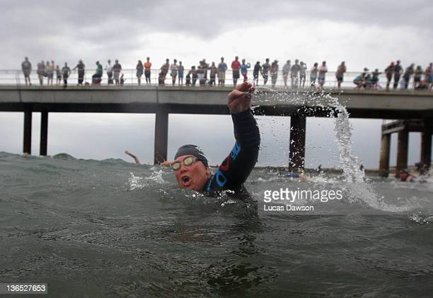 Competitor starts the race during the 2012 Pier to Pub on January 7 2012 in Lorne Australia