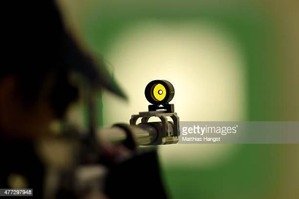 A competitor takes aim in the Women's 10m Air Rifle during day four of the Baku 2015 European Games at Baku Shooting Centre on June 16 2015 in Baku...