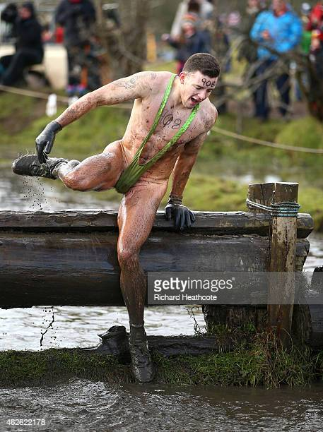 Competitor takes part in a mankini during the Tough Guy Challenge at South Perton Farm on February 1, 2015 in Wolverhampton, England.
