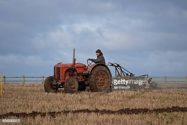 Competitor takes part in the annual ploughing match on November 27, 2016 in Staithes, United Kingdom. The event which is held each year in fields...