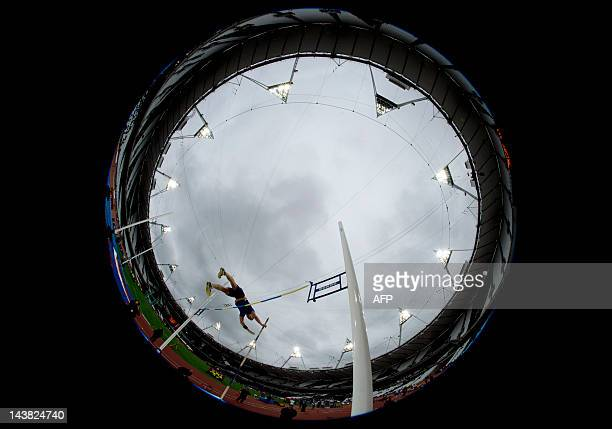 A competitor takes part in the pole vault during the BUCS Outdoor Athletics Championships a part of the London Prepares series of test events at the...