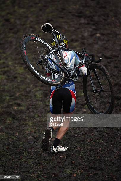 A competitor takes part in the 'Veteran 4049 Men' category race at the 2013 National CycloCross Championships in Peel Park on January 12 2013 in...
