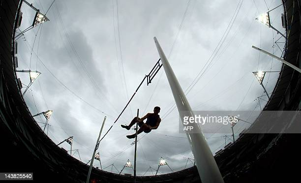 A competitor takes pole vaults during the BUCS Outdoor Athletics Championships a part of the London Prepares series of test events at the Olympic...