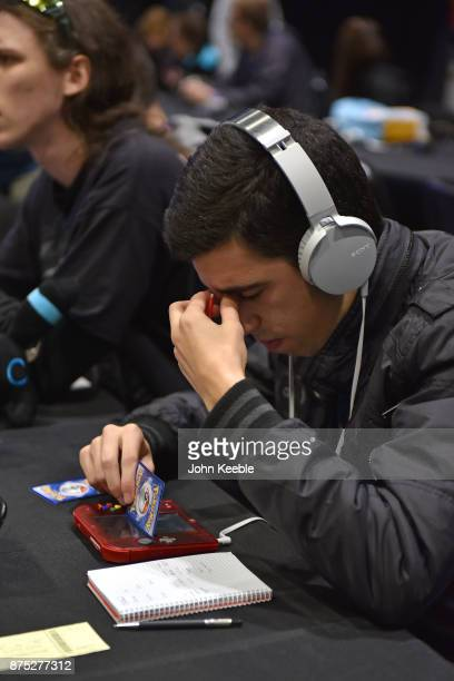 A competitor thinks about his next move at the Pokemon European International Championships at ExCel on November 17 2017 in London England Thousands...