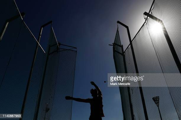 Competitor throws in the Mens U18 Hammer Throw during the Australian Track and Field Championships at Sydney Olympic Park Athletic Centre on April...