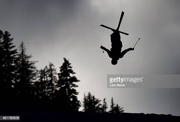 Competitor trains prior to the Dual Moguls Finals of the FIS Freestyle Ski and Snowboard World Championship 2015 on January 19, 2015 in Kreischberg,...