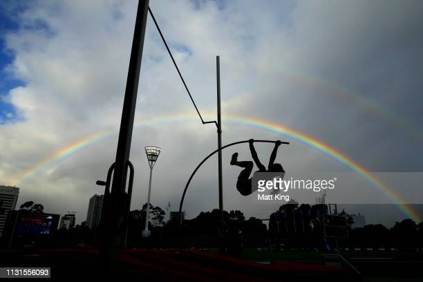 A competitor vaults in the women's pole vault during the Sydney Track Classic at the Sydney Olympic Park Athletic Centre on February 23 2019 in...