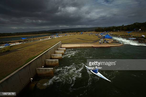 Competitor waits to the start in the Women's Kayak during day four of the Australian Youth Olympic Festival at the Penrith White Water Stadium on...