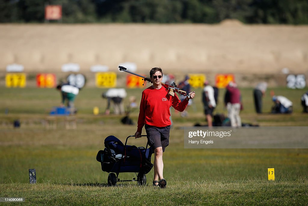 A competitor walks down the Century range during the NRA Imperial Meeting at the National Shooting Centre on July 20, 2013 in Bisley, England.
