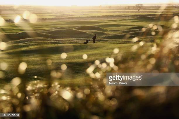 A competitor walks on the sixth fairway during the Oxford and Cambridge Golfing Society President's Putter at Rye Golf Club on January 4 2018 in Rye...
