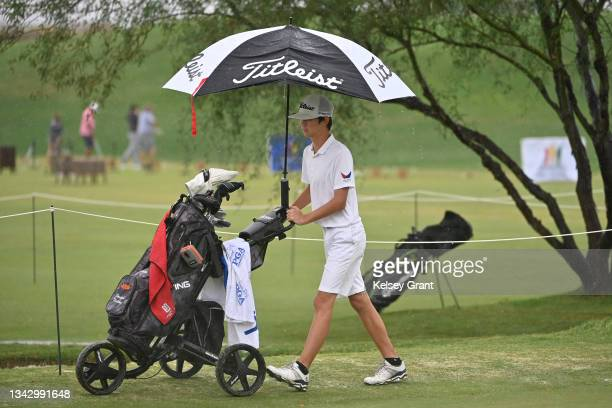 Competitor walks to the next green during the 2021 Drive, Chip and Putt Regional Qualifier at TPC Scottsdale on September 26, 2021 in Scottsdale,...
