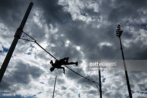 A competitor warms up in the men's senior pole vault during the New Zealand Track and Field Championships at Mt Smart Stadium on March 23 2013 in...