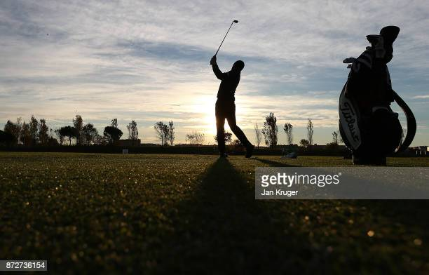 A competitor warms up on the driving range ahead of the first round of the European Tour Qualifying School Final Stage at Lumine Golf Club on...
