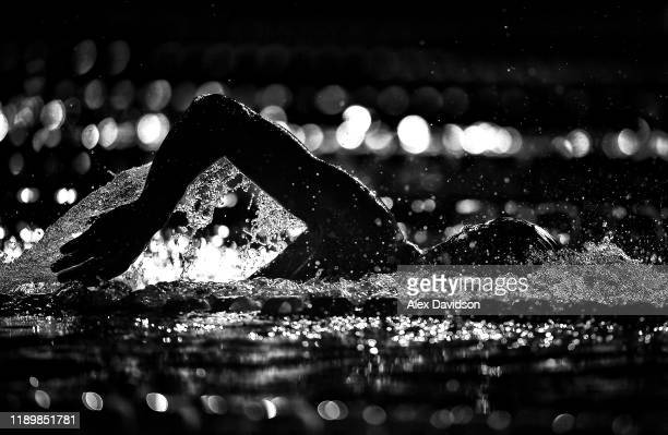 A competitor warmsup prior to Day Two of the International Swimming League 2019 at Aquatics Centre on November 24 2019 in London England