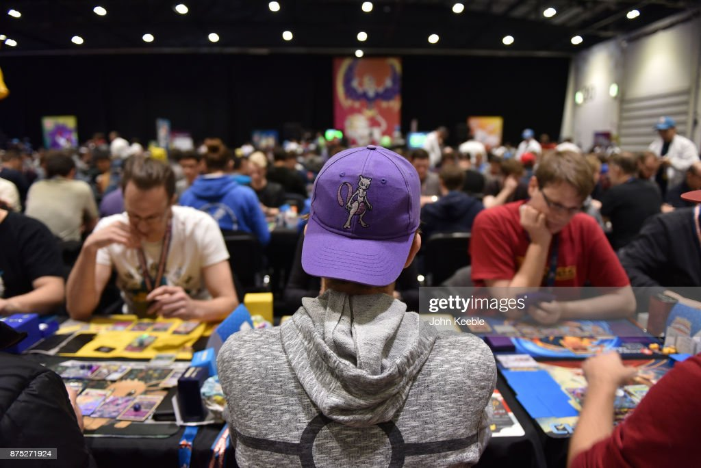 A competitor wears a Mewtwo cap at the Pokemon European International Championships at ExCel on November 17, 2017 in London, England. Thousands of competitors from around the world will attend the Pokémon TCG and Video Game Europe International Championships over three days, the first International Championships of the 2018 season. The competition will feature high Championship Point payouts and a prize pool value of up to $250,000.