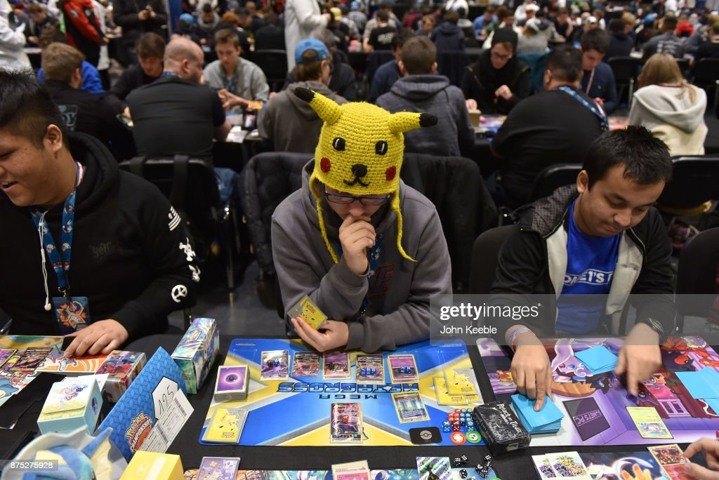 A competitor wears a pikachu hat at the Pokemon European International Championships at ExCel on November 17, 2017 in London, England. Thousands of competitors from around the world will attend the Pokémon TCG and Video Game Europe International Championships over three days, the first International Championships of the 2018 season. The competition will feature high Championship Point payouts and a prize pool value of up to $250,000.