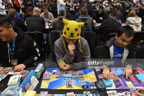 A competitor wears a pikachu hat at the Pokemon European International Championships at ExCel on November 17 2017 in London England Thousands of...