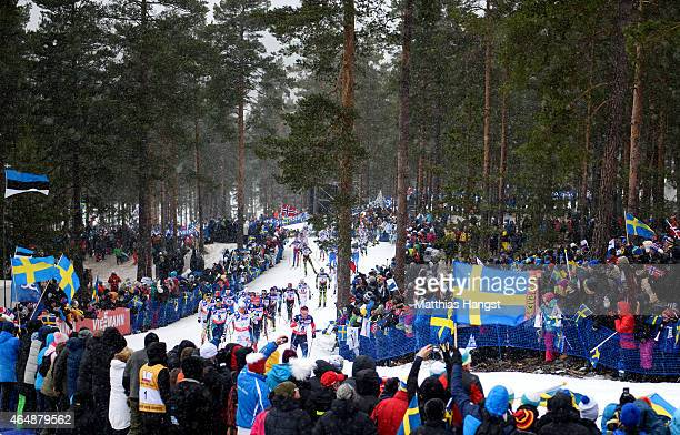 Competitors are encouraged by fans during the Men's 50km Mass Start CrossCountry during the FIS Nordic World Ski Championships at the Lugnet venue on...