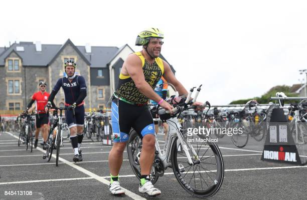 Competitors are seen in action during the Ironman Wales competiton on September 10 2017 in Tenby Wales