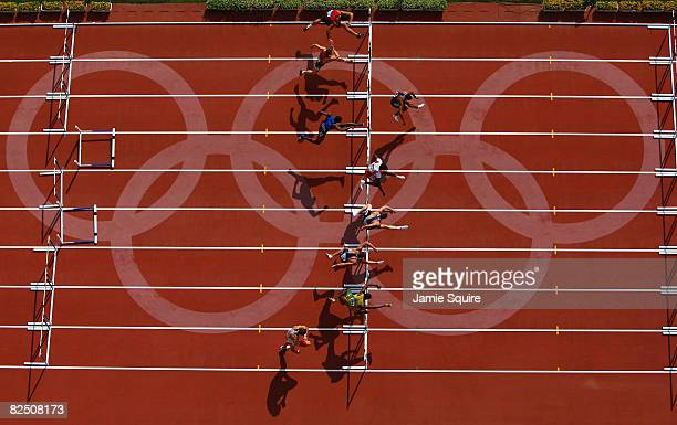 Competitors are seen in the 110m Hurdles Heats of the Men's Decathlon at the National Stadium on Day 14 of the Beijing 2008 Olympic Games on August...