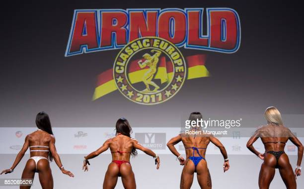 Competitors are seen participating in the Arnold Classic Europe 2017 amateur competition held at the Barcelona Fira 2 on September 22 2017 in...