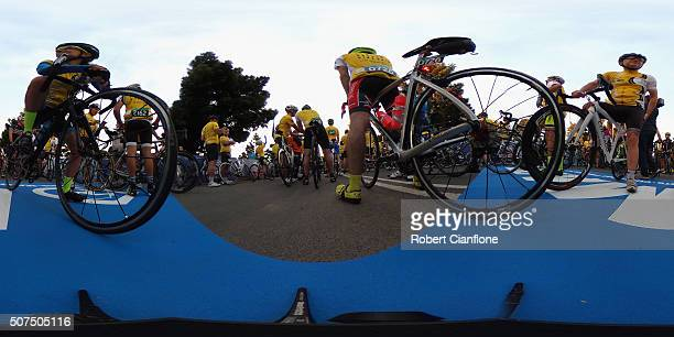 Competitors are seen waiting at the start of the 2016 Cadel Evans Great Ocean Road Race on January 30 2016 in Geelong Australia
