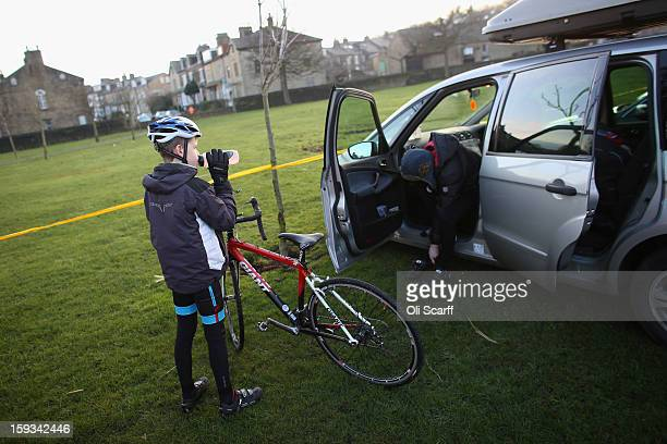 Competitors arrive in Peel Park ahead of the 2013 National CycloCross Championships on January 12 2013 in Bradford England The sport of cyclocross...