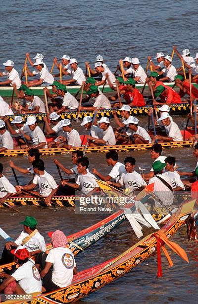 Competitors at the annual boat race on the Mekong River in Phnom Penh