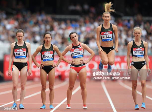 Competitors await to start the Women's 1 Mile during Day Two of the Muller Anniversary Games at London Stadium on July 22 2018 in London England