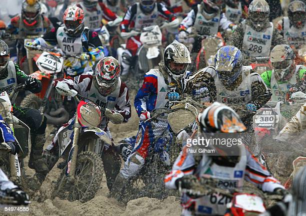 Competitors battle to cross the finish line on the 17.3 kilometre circuit during the Enduropale race featuring over 1000 motorbikes in the 4th...