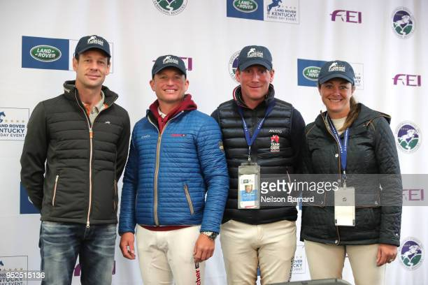 Competitors Christopher Burton Michael Jung Oliver Townend and Lynn Symansky attend a press conference during the Land Rover Kentucky Three Day Event...