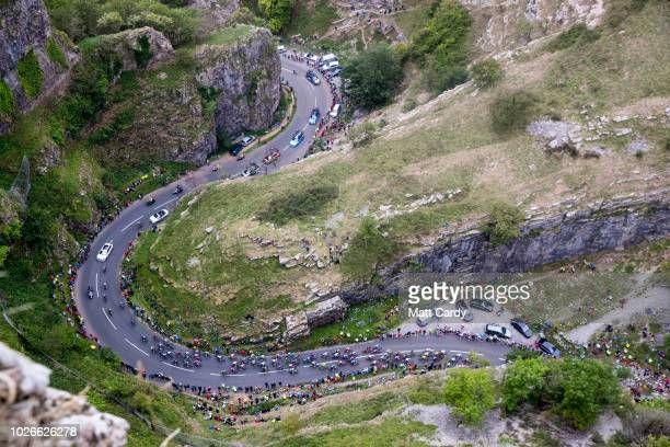 Competitors climb through Cheddar Gorge during the 15th Tour of Britain 2018 Stage 3 on September 4 2018 in Somerset England