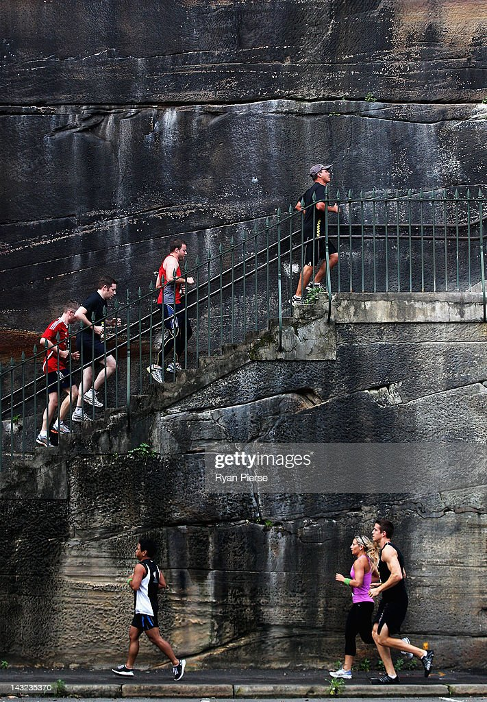 Competitors climb up the Hickson Road steps during the 2012 Men's Health Urbanathlon on April 22, 2012 in Sydney, Australia.