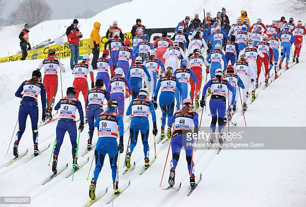 Competitors compete during the Women's 10km Classic Mass Start of the FIS Tour De Ski on January 9 2010 in Val di Fiemme Italy