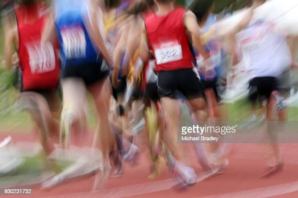 Competitors compete in the Mens 1500 metre final during the New Zealand Track Field Championships on March 11 2018 in Hamilton New Zealand
