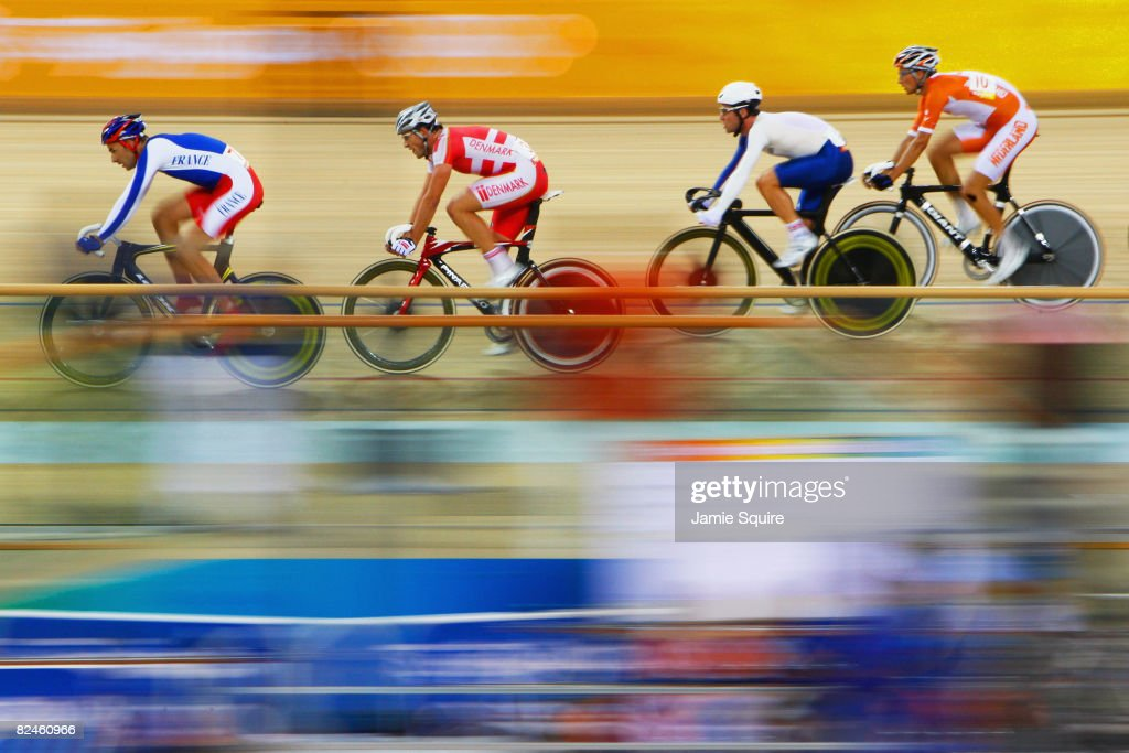 Competitors cycle in the Men's Madison at the Laoshan Velodrome on Day 11 of the Beijing 2008 Olympic Games on August 19, 2008 in Beijing, China.
