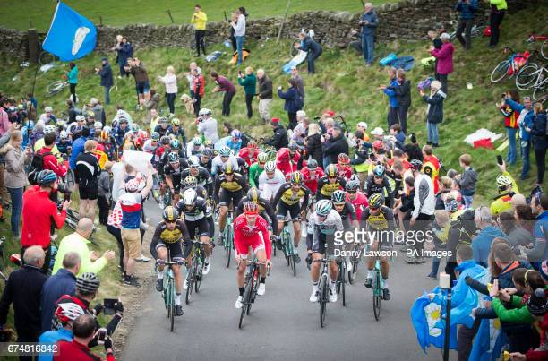 Competitors cycle up the Cota de Lofthouse during Stage Two of the Tour de Yorkshire