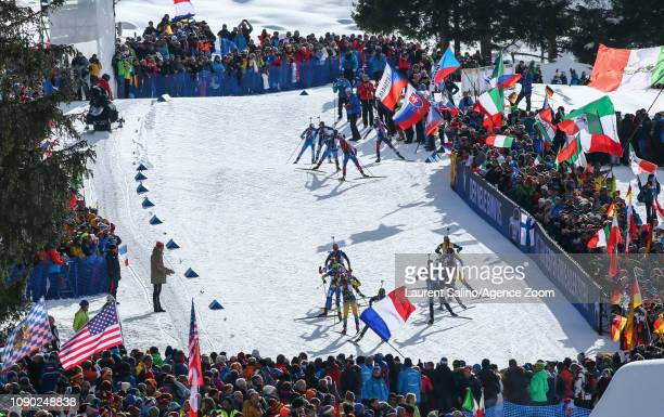 Competitors during the IBU Biathlon World Cup Men's and Women's Mass Start on January 27 2019 in Antholz Anterselva Italy