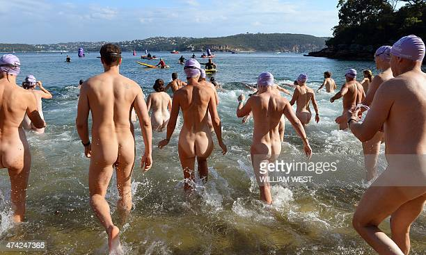 Competitors enter the water at the start the second annual Sydney Skinny where they take part in an attempt to break the world record for the largest...
