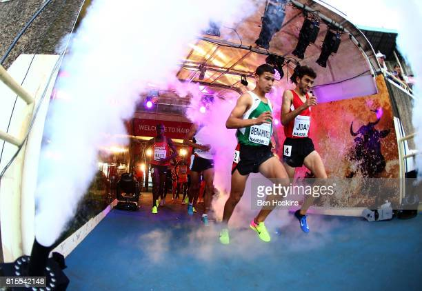 Competitors for the boys 2000m steeplechase make their way to the track on day five of the IAAF U18 World Championships at The Kasarani Stadium on...
