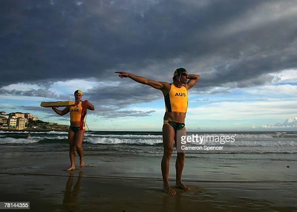Competitors from Australia prepare for the start of the male tube rescue event during test one of the International Surf Challenge at Bondi Beach on...