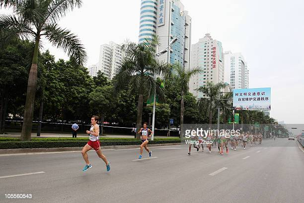 Competitors go through the streets of Nannning during the IAAF World Half Marathon Championships 2010 on October 16 2010 in Nanning China