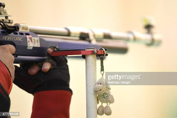 A competitors good luck charm hangs from his rifle rest in the Men's 10m Air Rifle during day four of the Baku 2015 European Games at Baku Shooting...
