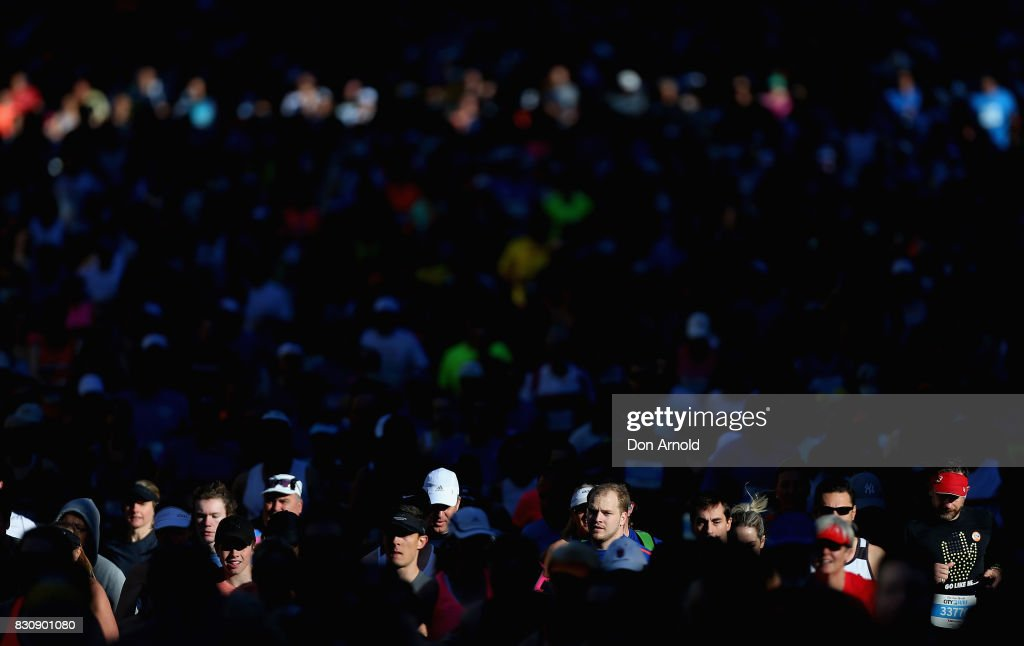 Competitors head up William Street during the start of the 2017 City to Surf on August 13, 2017 in Sydney, Australia.